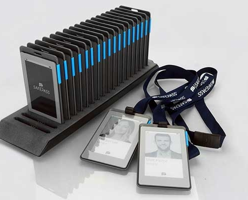 Charging Dock with Smart Badges and Lanyards